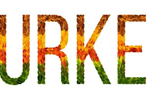 word turkey country is written with leaves on a white insulated background, a banner for printing, a creative developing country colored leaves turkey