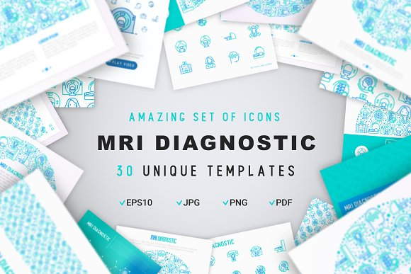 MRI Diagnostic Icons Set | Concept in Graphics - product preview 1