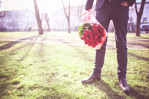 Gentleman with Roses in a Park #3