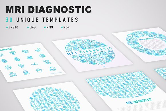 MRI Diagnostic Icons Set | Concept in Graphics - product preview 7
