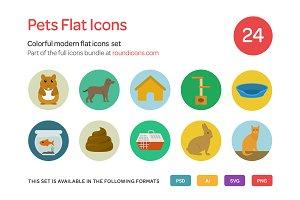 Pets Flat Icons Set