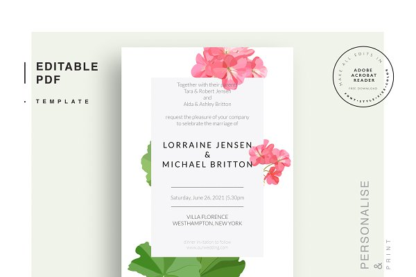 Stationery Templates: Peolla - Wedding editable PDF template