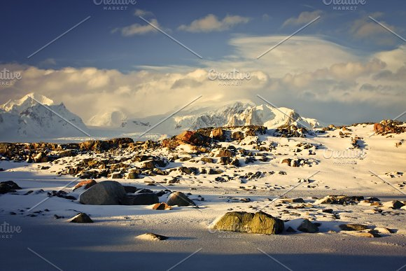 Beautiful snow-capped mountains in Graphics