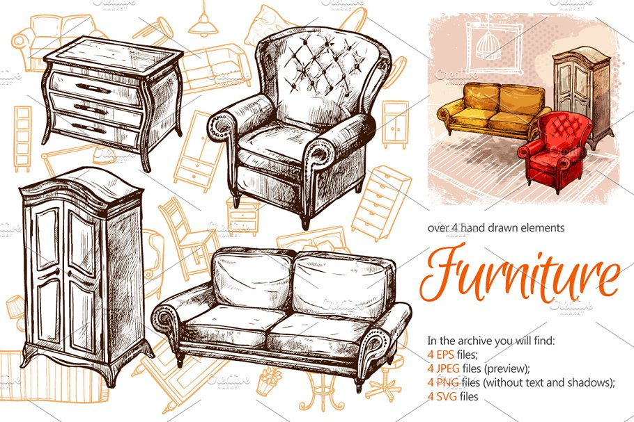 Furniture Sketch Set in Illustrations