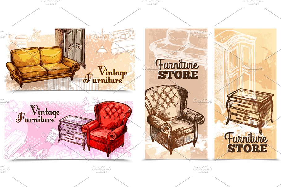 Furniture Sketch Set in Illustrations - product preview 1
