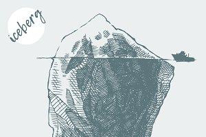 An iceberg with an icebreaker