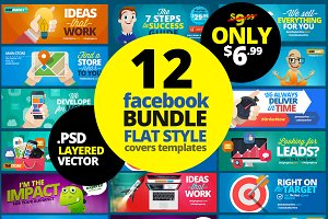 12 FB Covers BUNDLE! Flat Style