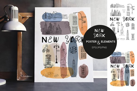 2 New York posters & elements in Illustrations