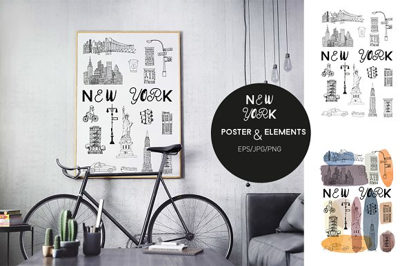 2 New York posters & elements in Illustrations - product preview 1