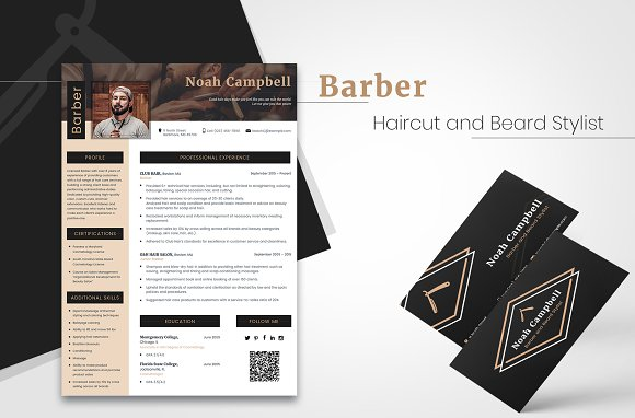 Barber CV + Business Card ~ Resume Templates ~ Creative Market