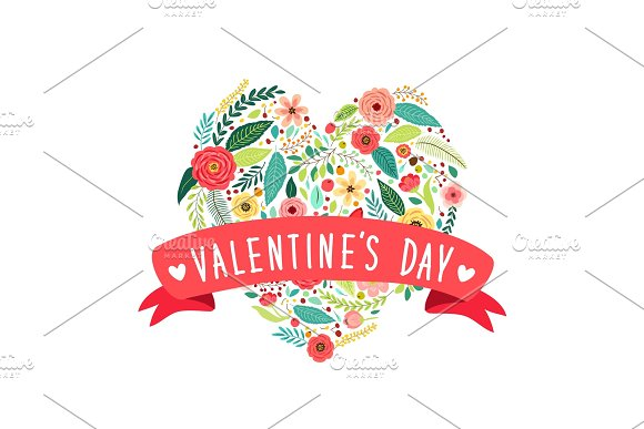 Cute vintage Valentine's Day symbol as rustic hand drawn first spring flowers in heart shape in Textures