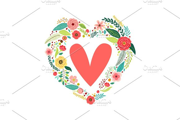 Cute vintage Valentine's Day symbol as rustic hand drawn first spring flowers in heart shape
