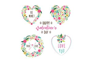 Cute vintage Valentine's Day frames as rustic hand drawn first spring flowers in heart shape