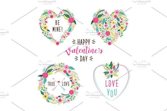 Cute vintage Valentine's Day frames as rustic hand drawn first spring flowers in heart shape in Textures