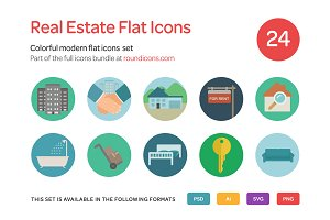 Real Estate Flat Icons Set