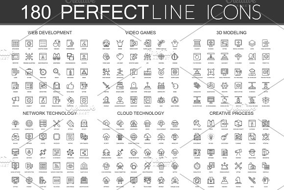 180 Perfect Line icons. in Graphics