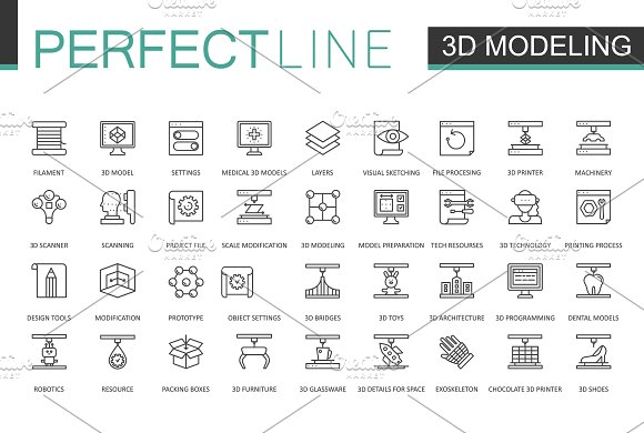 180 Perfect Line icons. in Graphics - product preview 1