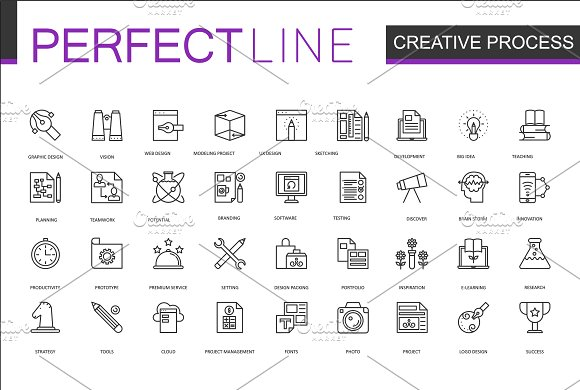 180 Perfect Line icons. in Graphics - product preview 3