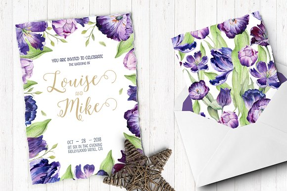 Watercolor violet tulips in Illustrations - product preview 5