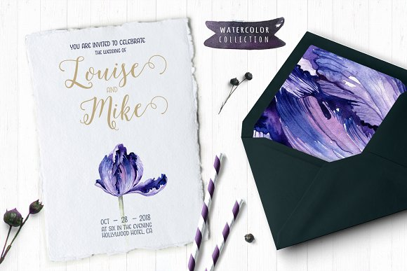 Watercolor violet tulips in Illustrations - product preview 6