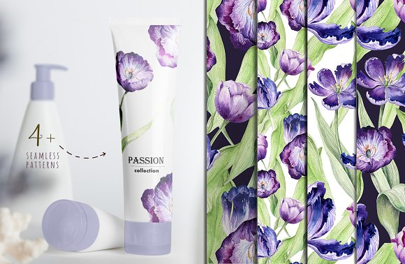 Watercolor violet tulips in Illustrations - product preview 7