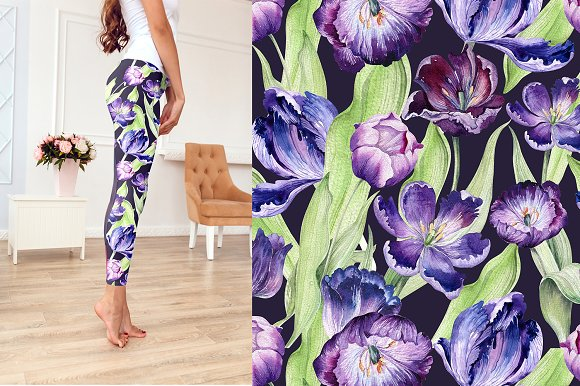 Watercolor violet tulips in Illustrations - product preview 8