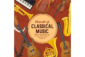 Poster for classical music instruments, sound