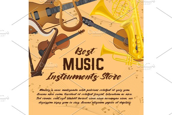 Banner of music instruments for shop or store in Illustrations
