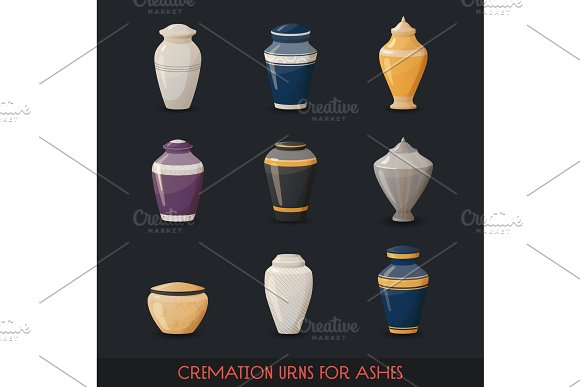 Urns for cremations, vase for cremated body ashes in Objects