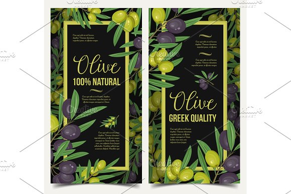 Vertical posters with olive berries and leaves
