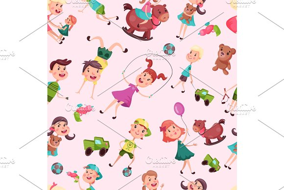 Seamless pattern with school or kindergarten kids