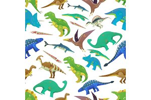 Seamless pattern with dinosaurs, prehistoric fish