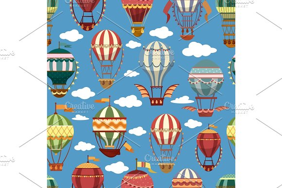 Old or retro hot air transport or striped balloons