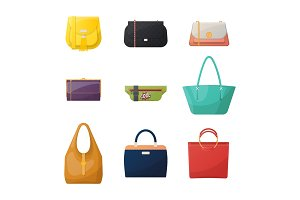 Women or woman, girl and lady fashion bag icons