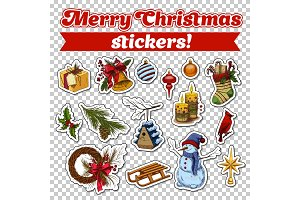 Stickers for 2018 new year card or christmas eve