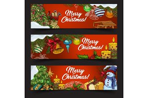 Horizontal banners for 2018 new year and xmas