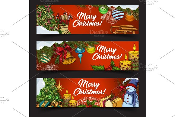 Horizontal banners for 2018 new year and xmas in Objects