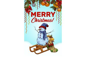 Merry christmas banner with snowman on sledges