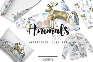 Polar animals. Watercolor clip art.