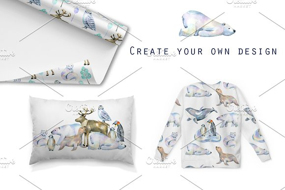 Polar animals. Watercolor clip art. in Illustrations - product preview 3
