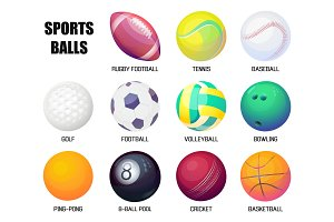 Balls for rugby and baseball, basketball and soccer