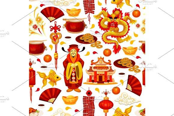 Chinese New Year seamless pattern background