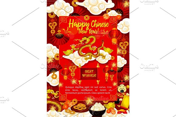Golden dragon greeting card for Chinese New Year