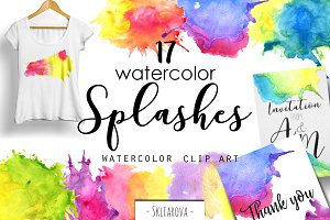 Watercolor splashes. Clip art.
