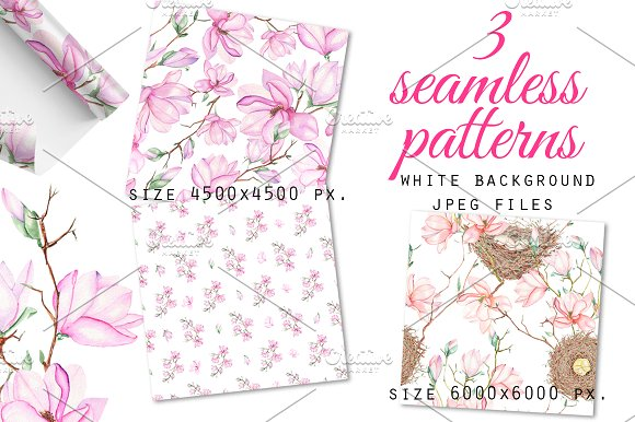 Spring Magnolia. Watercolor clip art in Illustrations - product preview 3