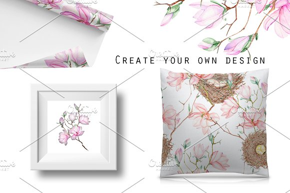 Spring Magnolia. Watercolor clip art in Illustrations - product preview 4