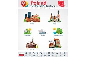 Poland. Travel destinations icons