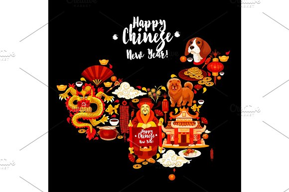 China map with Chinese New Year holiday symbols