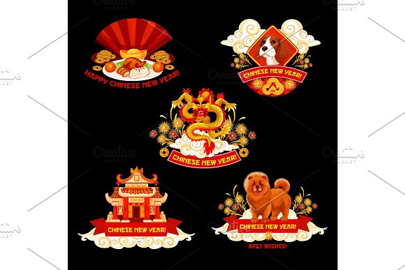 Chinese New Year label for Spring Festival design