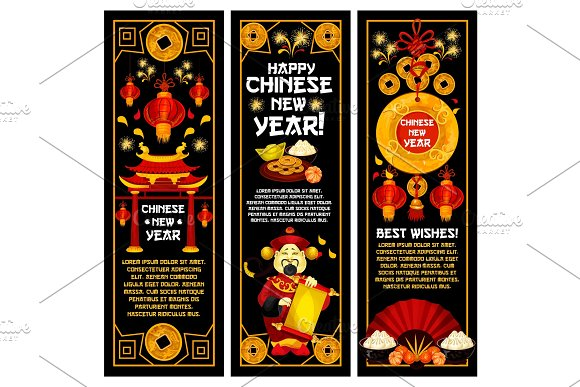Chinese New Year vector golden decoration banners